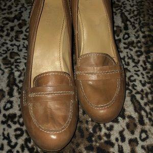 Neutral Beige Platform Loafer Heels